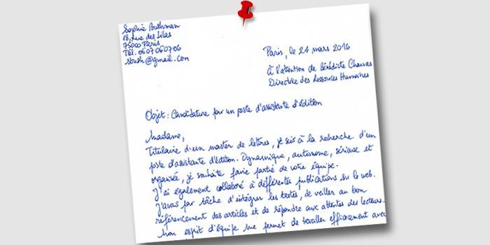 lettre motivation manuscrite